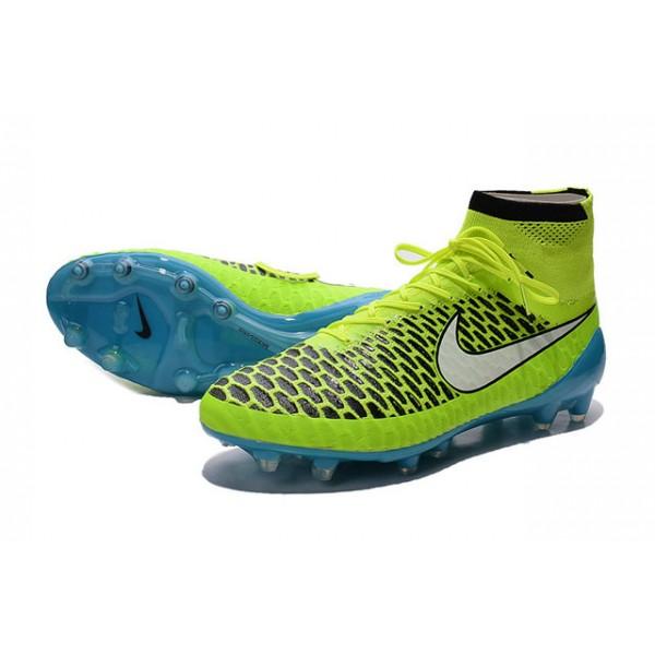 Nike Magista Obra FG Mens FirmGround Soccer Shoes Volt White Blue  Lagoon Black