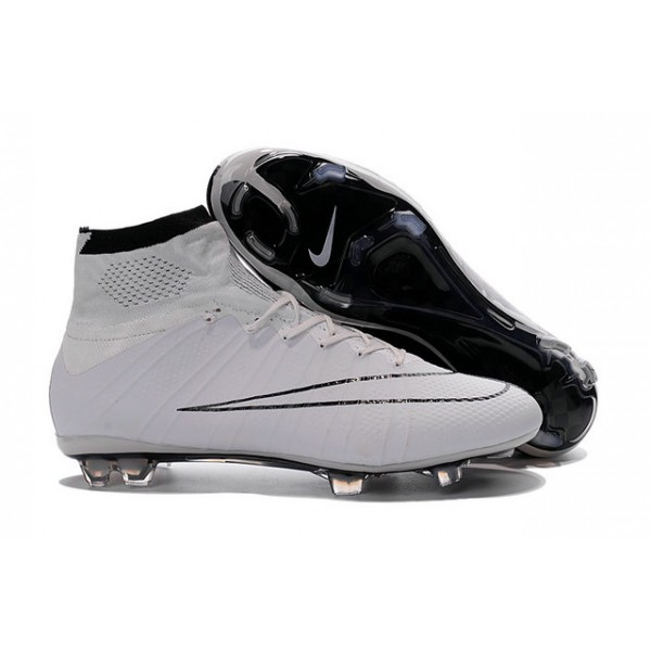 Nike New Mercurial Superfly FG Men's Firm-Ground Soccer Boots White Black