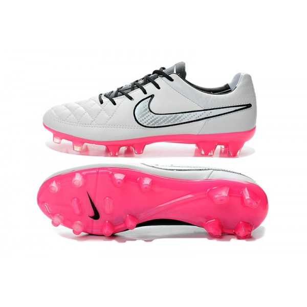 hot sale online 91cac 70189 Nike Tiempo Legend V FG Firm Ground Soccer Shoes White Black Pink