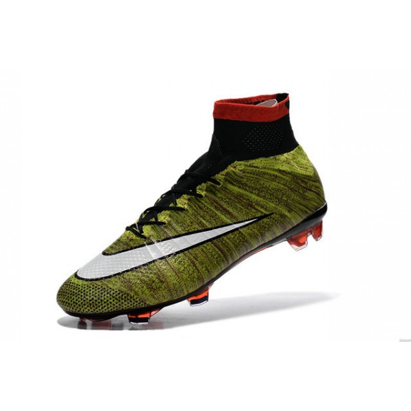 Nike New Mercurial Superfly FG Mens FirmGround Soccer Boots Volt Red  Black White