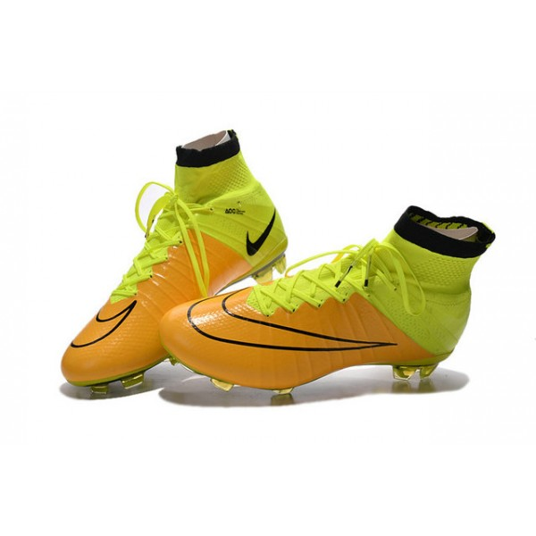 2015 nike men's mercurial superfly fg football cleats leather yellow volt black