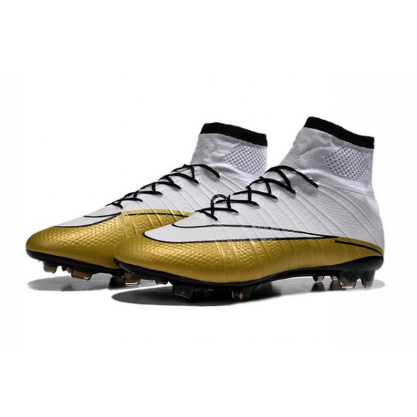 Nike New Mercurial Superfly FG Men's Firm-Ground Soccer Boots CR 501 Cleats  Black White & Gold