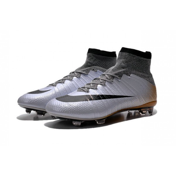 Nike New Mercurial Superfly FG Mens FirmGround Soccer Boots CR500 Silvery  Black Gold