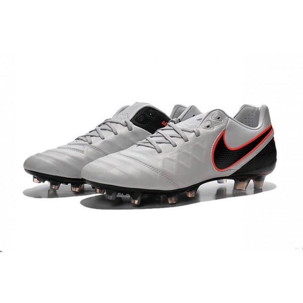 New Shoes for Men Nike Tiempo Legend VI FG Cleats Pure Platinum Black Orange