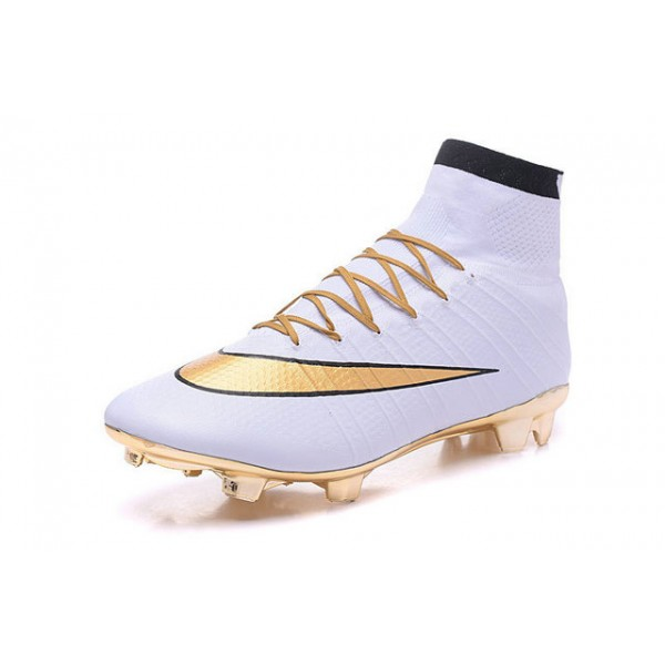 Nike New Mercurial Superfly FG Mens FirmGround Soccer Boots Gold White  Black