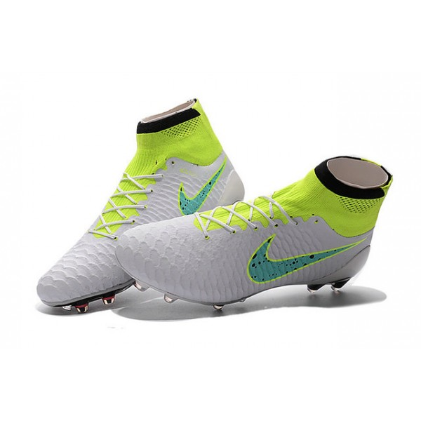 Nike Magista Obra FG Mens FirmGround Soccer Shoes White Volt Green Black