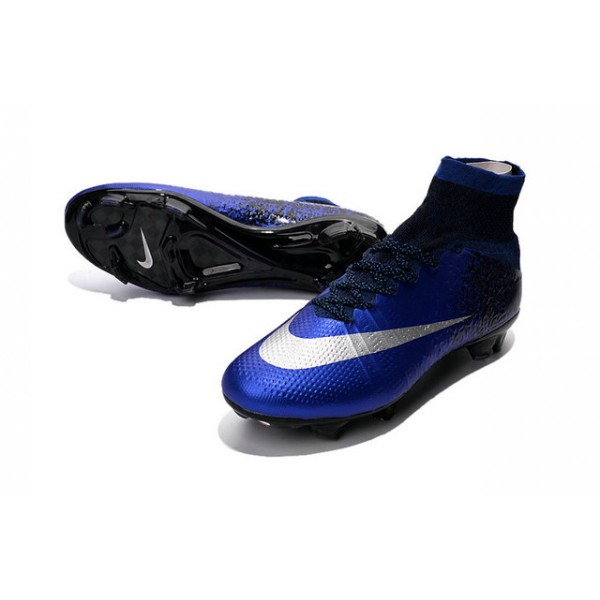 Royal Blue And Silver Adidas Soccer Shoes