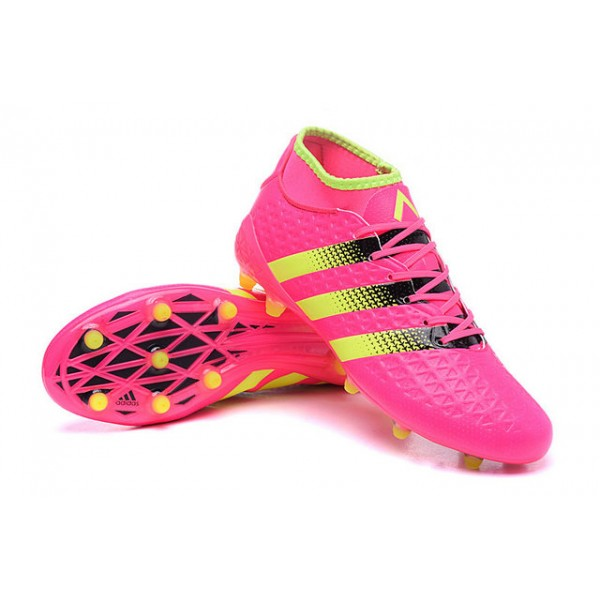 Soccer Cleats - Adidas ACE 16.1 Primeknit FG AG - Pink Black Yellow de2a299969