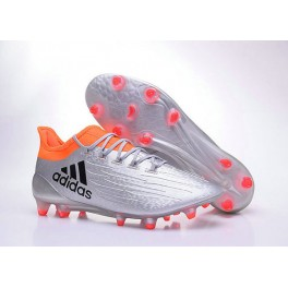 2016 Football Shoes - Adidas X 16.1 AG/FG For Men Silver Metallic Core Black Solar Red