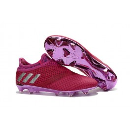 2016 Soccer Shoes Adidas Messi 16+ Pureagility FG/AG - Red Violet Silvery