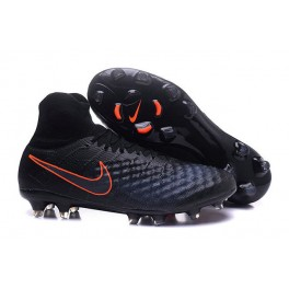 Men's Nike Magista Obra II FG Soccer Shoes - New Black Total Crimson