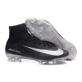 2016 Football Shoes - Nike Mercurial Superfly V FG Black Silver