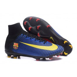 New Nike Mercurial Superfly 5 FG - Nike Shoes For Men Barcelona FC Blue Red Yellow Black