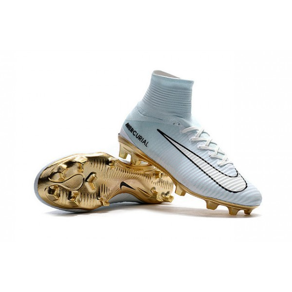 06edc5c96c53 New Nike Mercurial Superfly 5 FG - Nike Shoes For Men CR7 Vitórias White Gold  Black