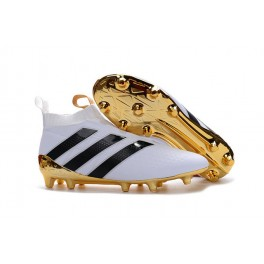 Soccer Cleats for Men - Adidas ACE 16+ Purecontrol FG/AG - White Gold Black