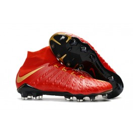 Cheap Hypervenom with Sock Nike Phantom III DF FG For Men -  Red Gold