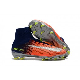 Football Shoes For Men - Nike Mercurial Superfly V FG Orange Yellow Silver