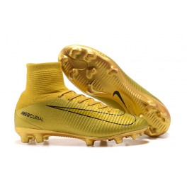 New Nike Mercurial Superfly 5 FG - Nike Shoes For Men CR7 Gold Black