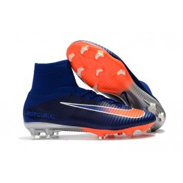 New Nike Mercurial Superfly 5 FG - Nike Shoes For Men Deep Royal Blue Chrome Total Crimson