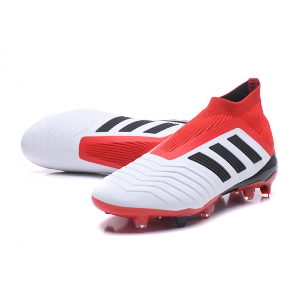 New Soccer Shoes For Men - Adidas Predator 18+ FG White Black Red 9df107bf9