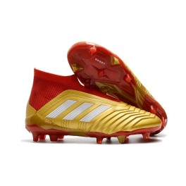 New Soccer Shoes For Men - Adidas Predator 18+ FG Gold Red White