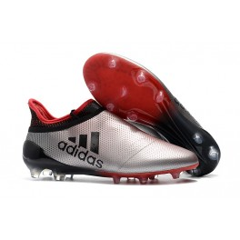 New Adidas X 17+ Purespeed FG - Soccer Shoes Silvery Red Black