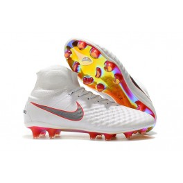 New Shoes For Men - Nike Magista Obra II FG Soccer Cleats White Metallic Cool Grey Light Crimson