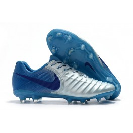 New Soccer Shoes for Men Nike Tiempo Legend VII FG - Silver Blue