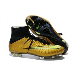 Nike New Mercurial Superfly FG Men's Firm-Ground Soccer Boots Golden Yellow Black