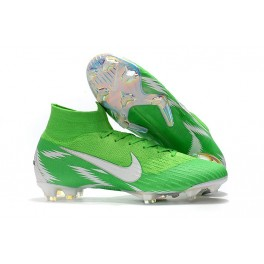 New - Nike Mercurial Superfly 6 Elite FG Soccer Cleats Green Silver